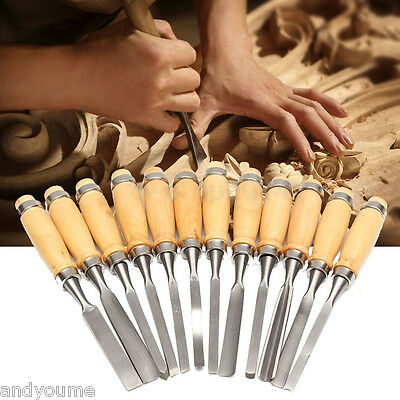 12 Piece Wood Carving Hand Chisel Tool Set Woodworking Professional Gouges Knife