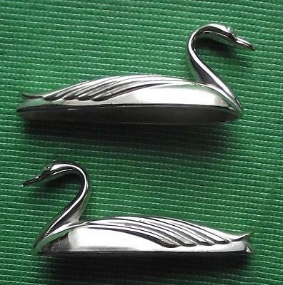 Pair Art Deco Silvered Swimming Duck Goose Swan Knife Rests  Xmas Table