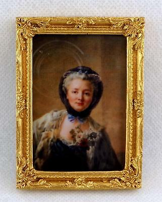 Dolls House Falcon Miniature Accessory Lady Picture Painting in Gold Frame