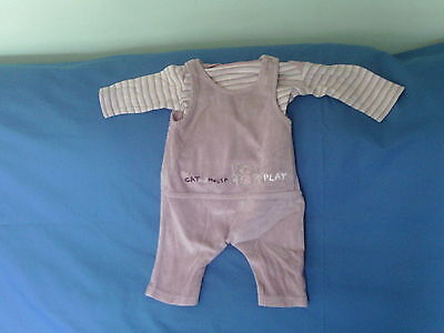 Newborn Baby Girls  - Dusky Pink Velour Dungarees & Top - Mothercare