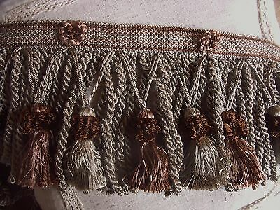 V5 Ancien Galon Passementerie Royal Franges Torsees Pompons Cafe Au Lait Taupe