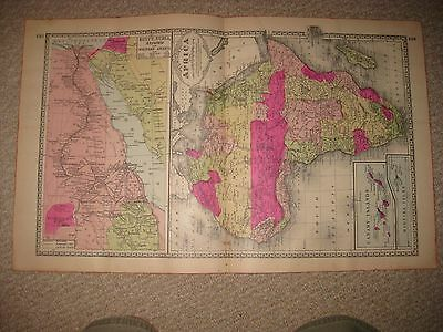 Large Gorgeous Antique 1885 Africa Handcolored Map Canary Madeira Islands Cape N