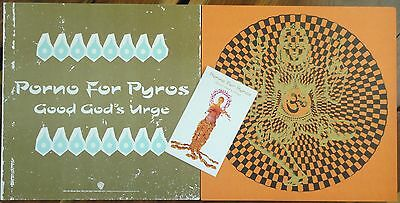 Porno for Pyros Good God's Urge Promo Only Flat Poster TWO Sticker RARE Unused