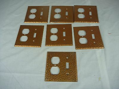Lot of 7 NOS Vintage Hammered Copper Duplex Switch Combo Electrical Plate Cover