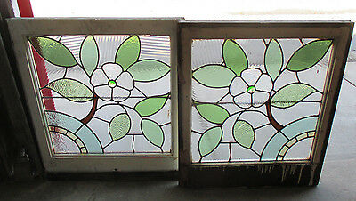 ~Beautiful Pair Antique Floral Stained Glass Windows ~ Architectural Salvage