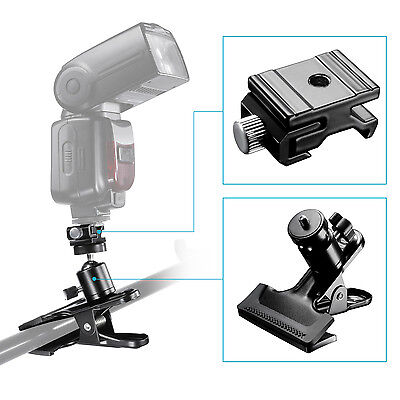 Neewer 360 Swivel Mini Ball Head Photography Clamp with Cold Shoe Mount Adapter