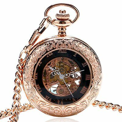 2016 New Mechanical Hand Wind Steampunk Rose Gold Pendant Necklace Pocket Watch