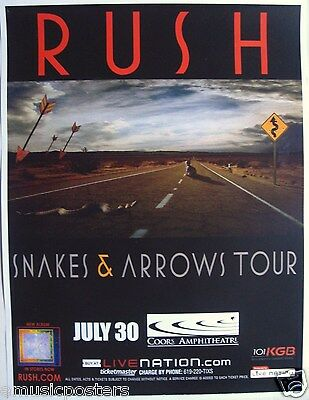 "RUSH ""SNAKES & ARROW TOUR"" 2007 SAN DIEGO CONCERT POSTER - Canadian Rock Music"