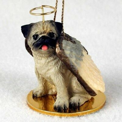 PUG brown dog ANGEL Ornament HAND PAINTED Figurine NEW Christmas fawn tan puppy
