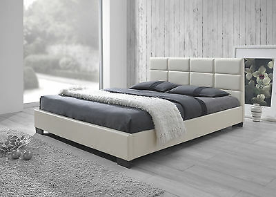 New Modern PU Leather Queen Size Wooden Bed Frame - White