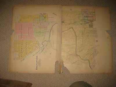 Huge Antique 1909 Kirkwood Brentwood St Louis City County Missouri Handcolor Map