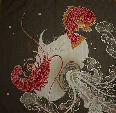 Furoshiki Cloth Japanese Fabric 'Sea Bream' Cotton Asian Tapestry 50cm