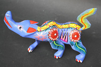 Mexican Coyote Animal Figure Sculpture Handpainted Woodcarving Native Art Craft