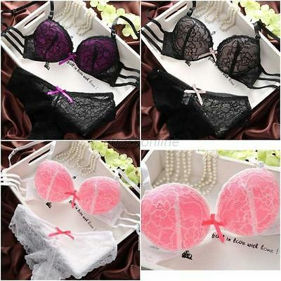 Sexy Women Embroidery Lace Lingerie Underwire Push-Up Padded Bra Underwear Set
