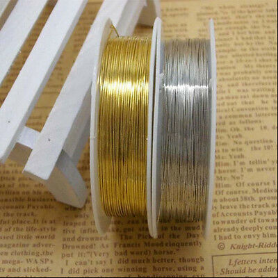 Newest DIY Gold/Silver Copper Wire String Beading Jewelry Making Craft 0.3-0.8mm