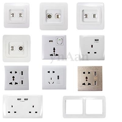 Universal UK USB Outlet Wall Electrical Light Switch Socket F TV Faceplate Frame