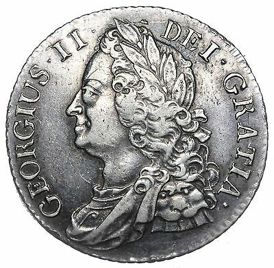 1743 Shilling - George Ii British Silver Coin - V Nice