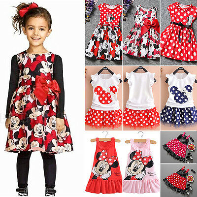 Toddler Kids Baby Girls Minnie Mouse Cartoon Skirt Tutu Summer Outfit Mini Dress