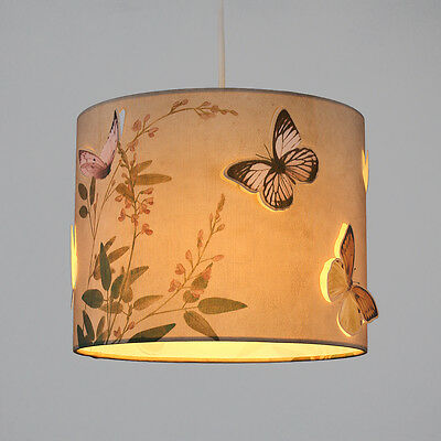 Rustic Flowers & Butterfly 3D Design Ceiling Pendant Light Shade Drum Lampshade