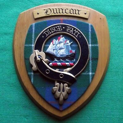 Vintage Scottish Clan Duncan Tartan Heavy Solid Oak Plaque Crest Shield