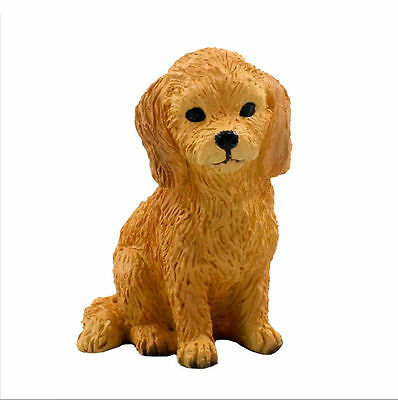 GOLDENDOODLE puppy TiNY DOG Figurine HAND PAINTED MINIATURE Statue Golden Doodle