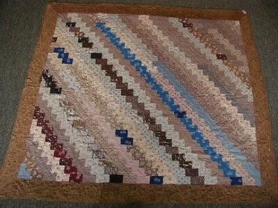 Antique Victorian Rail Zig Zag Beautiful Quilt Early 1820-1840's Cotton Browns