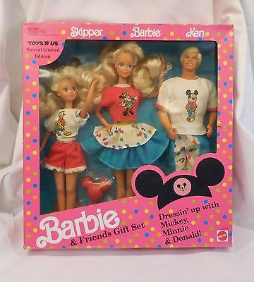 Barbie 1990s DISNEY KEN SKIPPER Toys R us Exclusive 3 Doll Gift Set New in Box