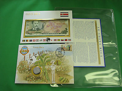 Costa Rica Banknote & Stamp First day Cover Mint Presentation Set French