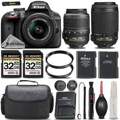 Nikon D3300 DX Digital SLR Camera with 18-55mm VR II + 55-200mm VR II Bundle
