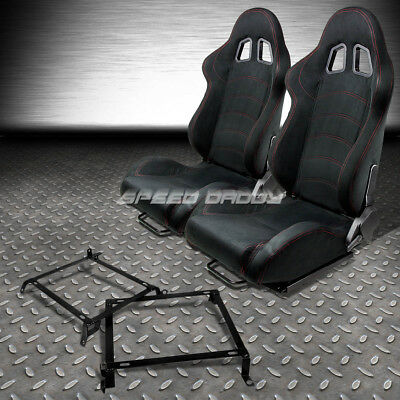 2 X Black Suede Reclinable Racing Seats+Bracket For 89-98 Nissan 240Sx S13 S14