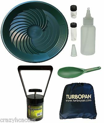 "Turbopan GREEN 16"" Gold Pan/Snuffer/Vials/Magnet/Sand Scoop/Carry Bag Panning"