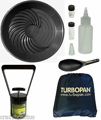 "Turbopan BLACK 16"" Gold Pan/Snuffer/Vials/Magnet/Sand Scoop/Carry Bag Panning"