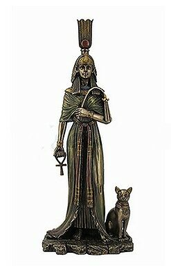 Egyptian Statue Queen Nefertari Nefertiti with Cat Goddess Bastet  #WU76648A4