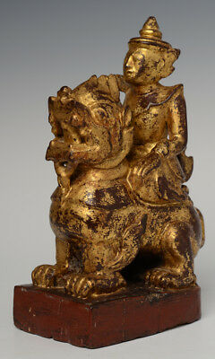 Early 20th Century, Burmese Wooden Angel Riding Lion