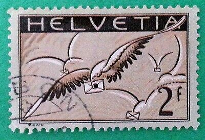 Switzerland 1930 Sc # C15 Air Mail 2F Used VFU NH Used Stamp CV $US85.00