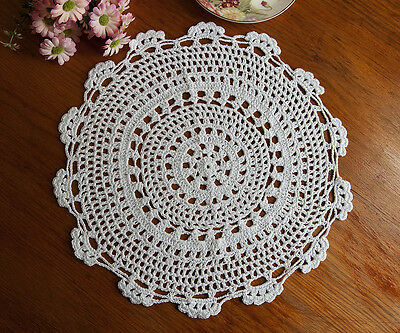 Pure Cotton Yarn Hand Crochet Lace Doily Placemat Round 35CM White FP03