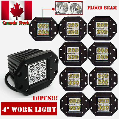 10x 4inch 24w Pods Cube Led Work Light Bar Flood Beam Offroad Driving Truck 4WD
