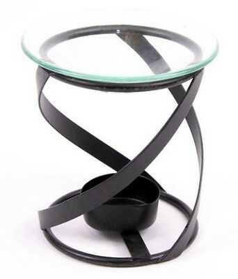 Oil Burner Black  Spiral Metal 4 inch With Glass Dish
