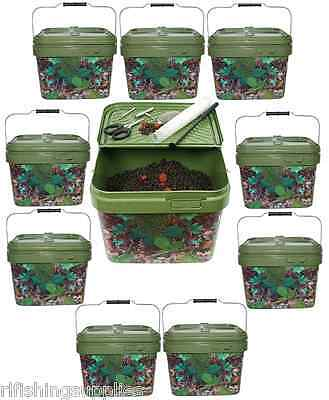 10 X Square 10L Camo Bait Buckets For Boilies Wholesale Carp Fishing Tackle
