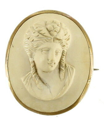 Antique Victorian Oval Lava 3D Lady Cameo GF Gold Filled Silver 1.25""