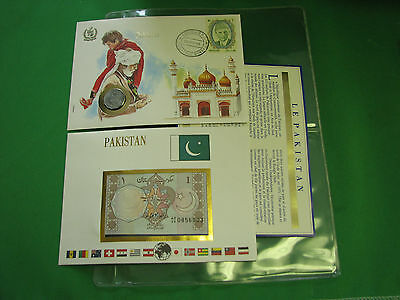 Pakistan Banknote UNC & Stamp First day Cover Mint Presentation Set French