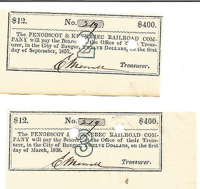 Lot of (2) Penobscot and Kennebec Railroad Co. $400 Bond Coupons from 1857-1869