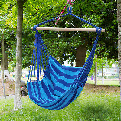 Blue Outdoor Garden Hanging Rope Swing Chair Seat Hammock Bench Patio Camping