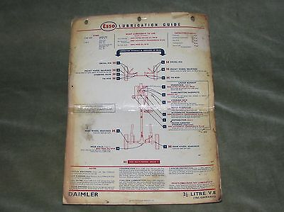 Esso Lubrication Chart For Daimler 2½-Litre V8