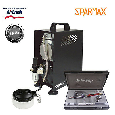 Professional Airbrush Kit - Infinity CRplus 2 in 1 #2 & Sparmax 610H Compressor