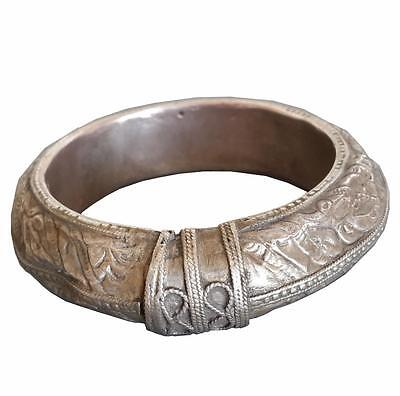 Antique Jewish Yemenite Silver Armlet 19thC Islamic Yemen Bracelet 70.5g Judaica
