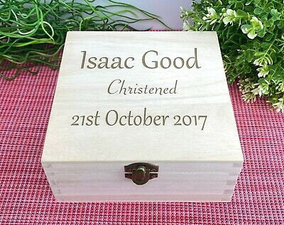 Personalised Engraved Wooden Box - New Baby / Christening GIFT Oak / Natural