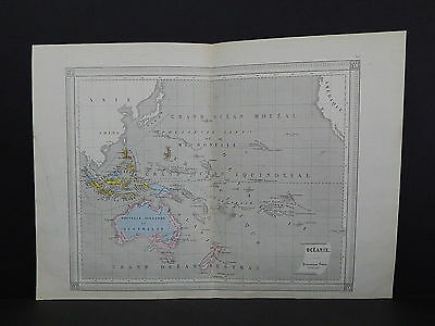 Antique Maps, French Atlas, c. 1870, Hand Color, Oceania, Australia S39