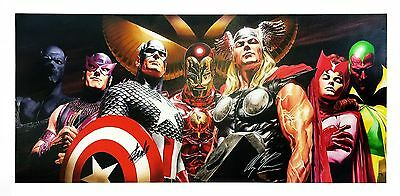 Marvel 'avengers Assemble'   Stan Lee Alex Ross Dual Signed   Giclee/canvas