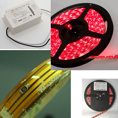 "Red LED Grow Light Ribbon Strip 200"" roll w/ power supply DIY"